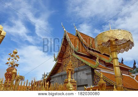 Wat Phrathat Doi Suthep ancient and sacred temple in Thailand