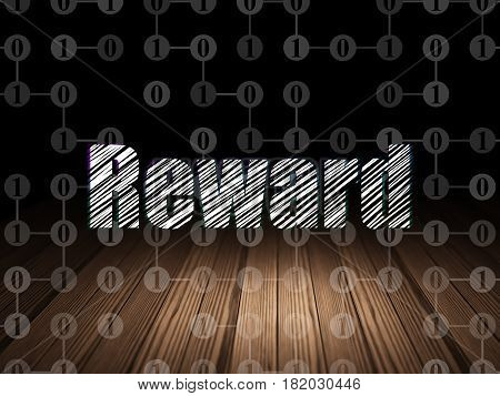 Finance concept: Glowing text Reward in grunge dark room with Wooden Floor, black background with Scheme Of Binary Code