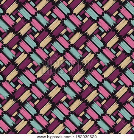 Absract eamless pattern with paintbrush stripes. Vector illustration