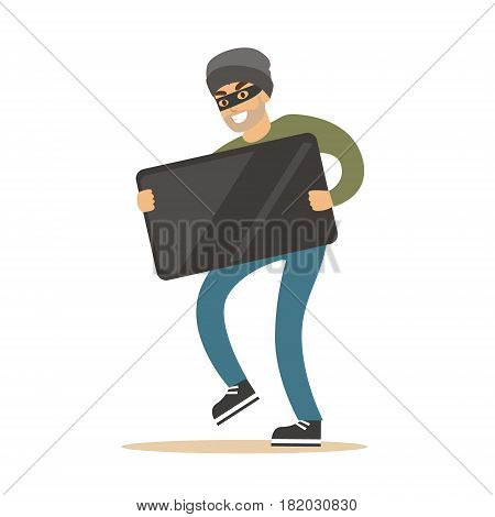 Robber in mask carrying balck modern TV. Colorful cartoon character vector Illustration isolated on a white background