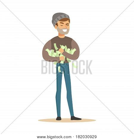 Thief stealing a lot of money. Colorful cartoon character vector Illustration isolated on a white background