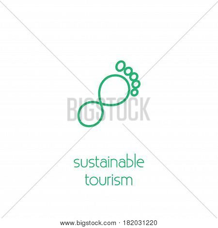 Sustainable tourism concept. Stock vector illustration of footprint formed by eternity sign.