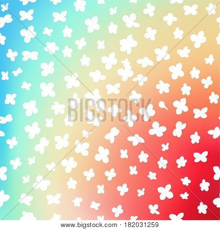 Vibrant iridescent multicolored background with simple flowers pattern. Vector illustration
