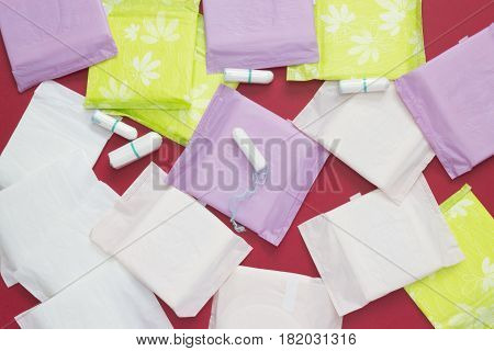 Menstruation sanitary soft cotton pads and cotton tampons for woman hygiene protection.