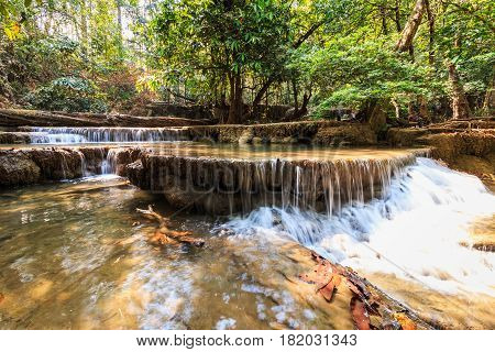 Waterfalls Huay Mae Kamin in dry season