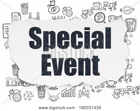 Business concept: Painted black text Special Event on Torn Paper background with  Hand Drawn Business Icons