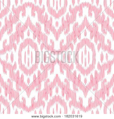 Red color seamless pattern. Tribal chevron in bohemian style. Impressive fashion print. Vector design can be used for textile, cover, cloth, fabric, wallpaper, card, wrapping paper. Scribble effect.