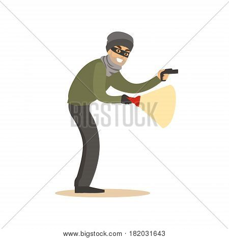 Thief in a black mask on the eyes with flashlight. Colorful cartoon character vector Illustration isolated on a white background
