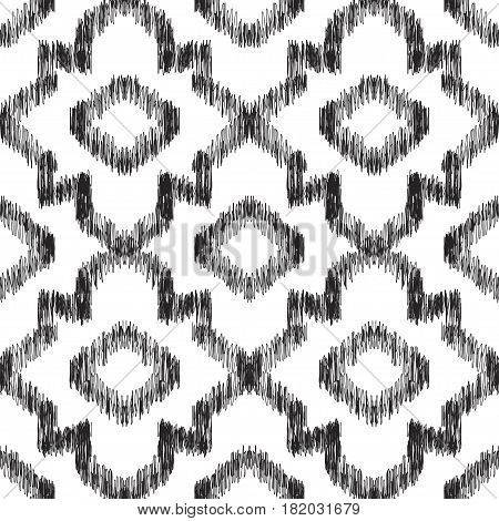 Ikat seamless pattern. Impressive fashion print. Vector illustration with scribble effect.
