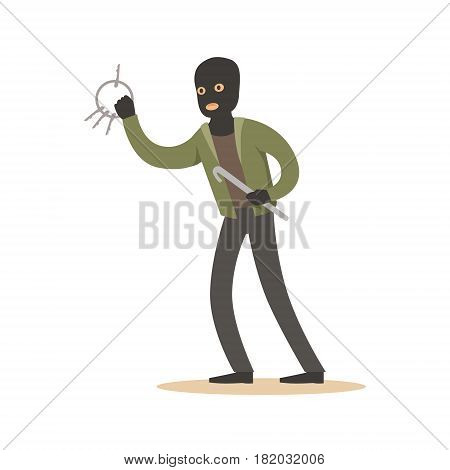 Thief in a black mask with master keys. Colorful cartoon character vector Illustration isolated on a white background