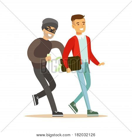 Pickpocket trying to steal money from smiling man . Colorful cartoon character vector Illustration isolated on a white background