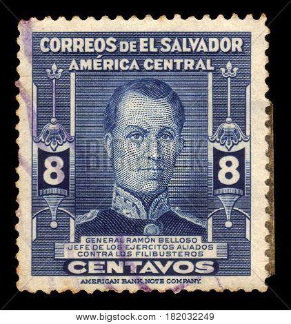 EL SALVADOR - CIRCA 1947: A stamp printed in El Salvador shows general Ramon Belloso, salvadoran military man, circa 1947