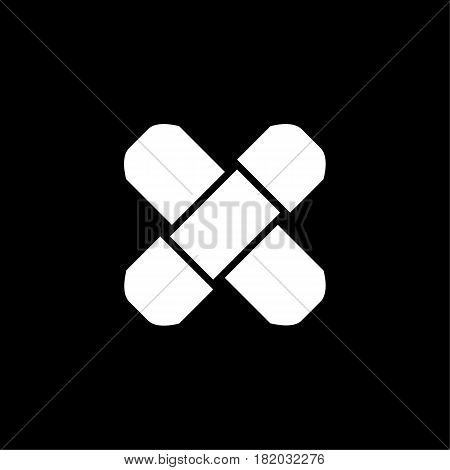 Adhesive plaster line icon, outline vector logo illustration, linear pictogram isolated on black. Eps 10