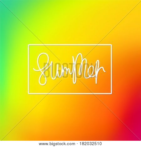Summer. Trendy lettering and bright iridescent multicolored background. Vector mesh illustration