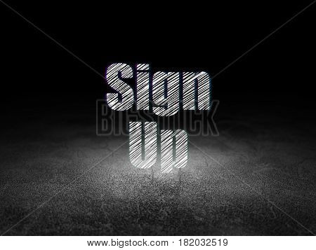 Web development concept: Glowing text Sign Up in grunge dark room with Dirty Floor, black background
