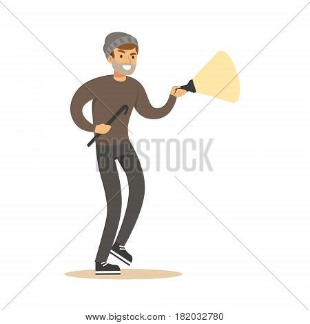 Thief in a black mask on the eyes with flashlight and nail puller. Colorful cartoon character vector Illustration isolated on a white background