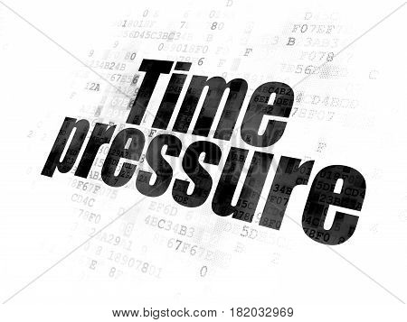 Timeline concept: Pixelated black text Time Pressure on Digital background