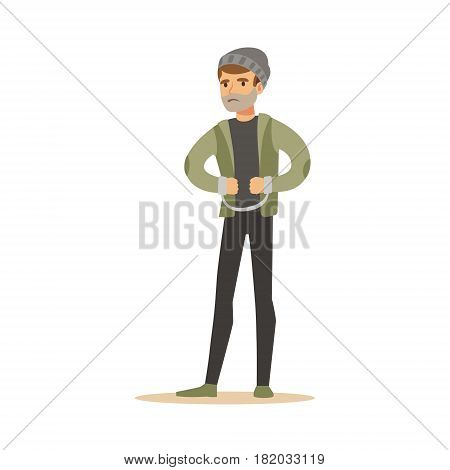 Robber in handcuffs. Colorful cartoon character vector Illustration isolated on a white background