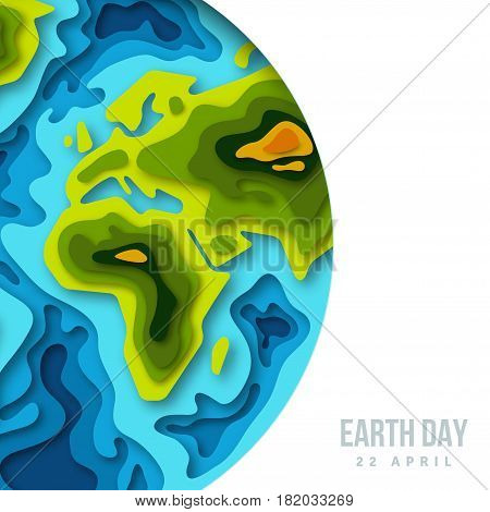 Earth planet, 3d paper cut design. Vector illustration. Happy Earth day concept, papercut shapes with shadow. Carved continents and oceans.