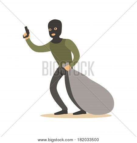 Robber in mask with huge sack and gun. Colorful cartoon character vector Illustration isolated on a white background