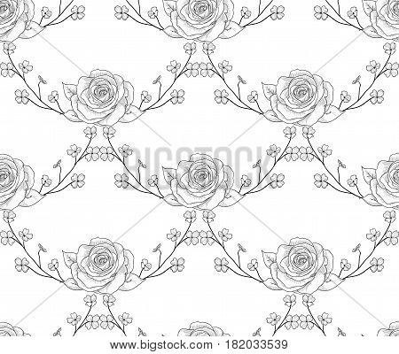 Vector Black Decorative Seamless Backdround Pattern with Drawn Flowers, Roses with Branches. Doodle Style Greenery, Lush Foliage, Foliate. Vector Illustration. Pattern Swatch