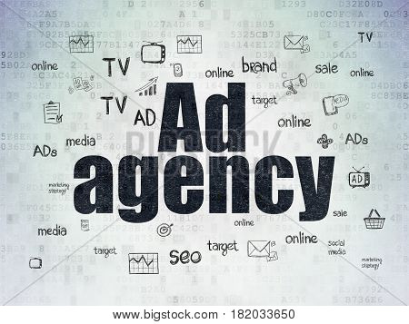 Marketing concept: Painted black text Ad Agency on Digital Data Paper background with  Hand Drawn Marketing Icons