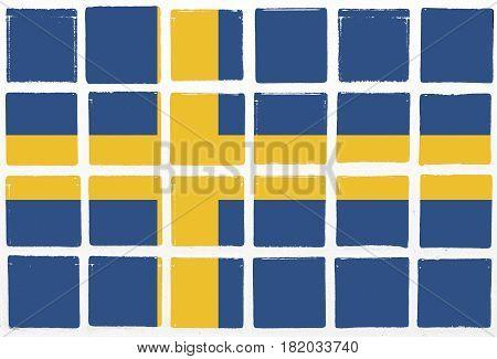 Glazed tiles sweden flag square  mosaic  detail line