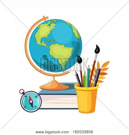 Geography, Globe And Writing Tools, Set Of School And Education Related Objects In Colorful Cartoon Style. Scholar Inventory Illustration Flat Vector Cute Drawing.