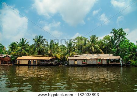 Houseboat On The Canals Of Alleppey.