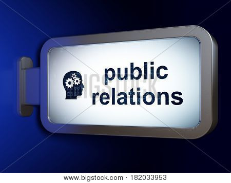 Marketing concept: Public Relations and Head With Gears on advertising billboard background, 3D rendering