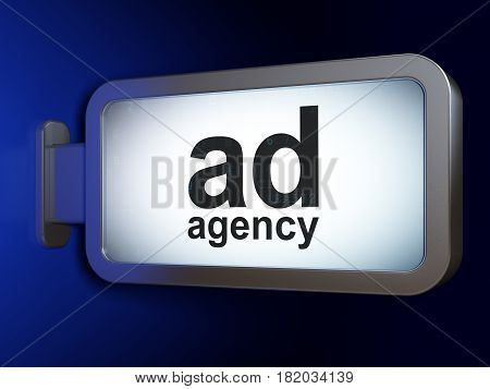 Marketing concept: Ad Agency on advertising billboard background, 3D rendering