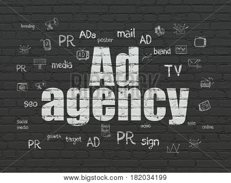 Advertising concept: Painted white text Ad Agency on Black Brick wall background with  Hand Drawn Marketing Icons