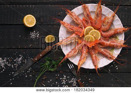 Set of shrimps closeup. Seafood. Fresh shrimp on the table