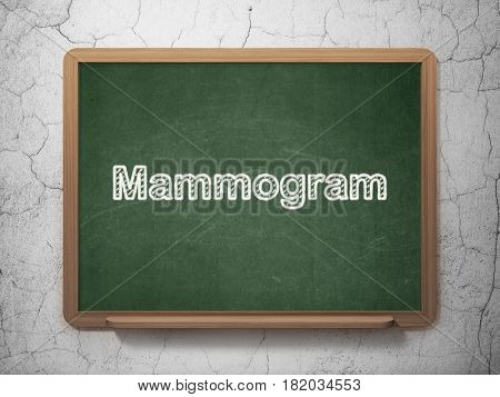 Medicine concept: text Mammogram on Green chalkboard on grunge wall background, 3D rendering
