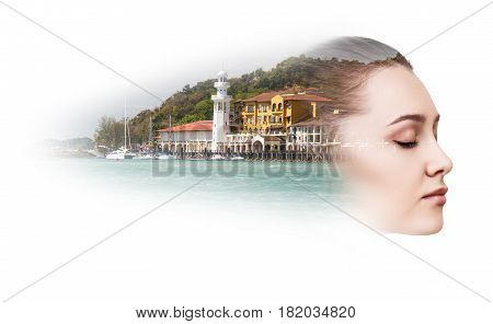 Double exposure of sensual young woman with resort harbor over white background