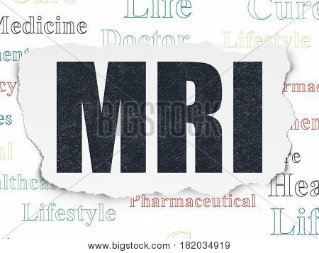 Health concept: Painted black text MRI on Torn Paper background with  Tag Cloud