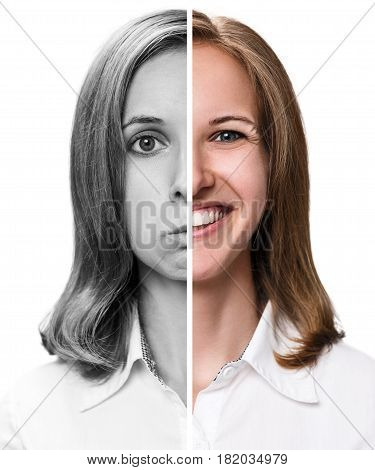 Young woman expressing happy and sad emotions in half face collage.