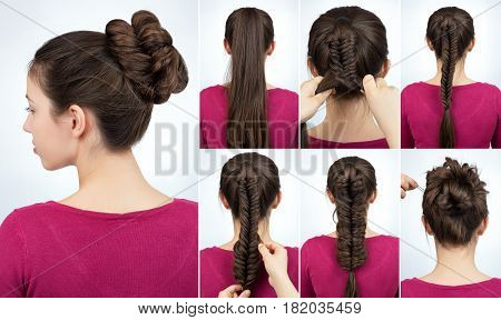 bun with fish tail braid. Simple hairstyle twisted bun with plait tutorial. Hairstyle tutorial step by step