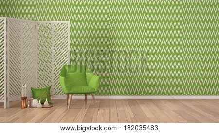 Scandinavian minimalist background with armchair screen candles and decor on parquet flooring green herringbone wallpaper living room interior design, 3d illustration
