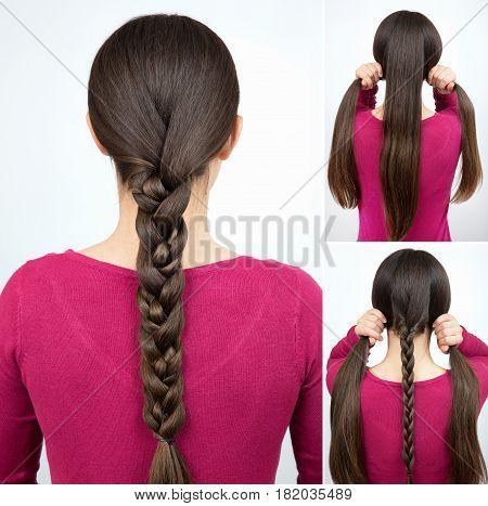 Hair tutorial. Hairstyle one simple braid tutorial step by step. Backstage technique of weaving plait