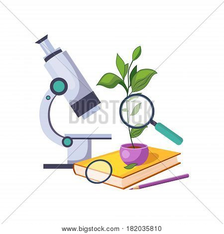 Botany Kit With Microscope And Plant In Pot, Set Of School And Education Related Objects In Colorful Cartoon Style. Scholar Inventory Illustration Flat Vector Cute Drawing.