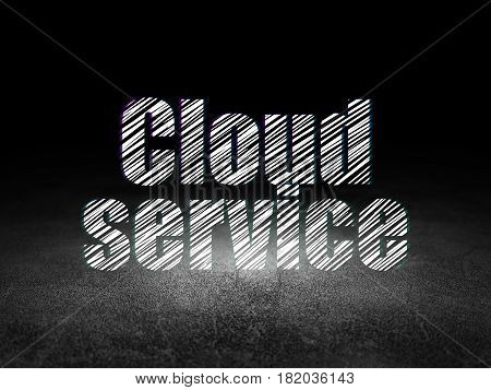 Cloud computing concept: Glowing text Cloud Service in grunge dark room with Dirty Floor, black background