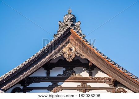 kyoto Japan - November 27 2015 : View of the roof of the pavilions at Kinkakuji Temple Where is the golden pavilion temple of world heritage site at Kyoto Japan.