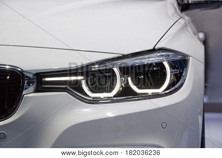 The automobile Closeup technology Front Headlight car