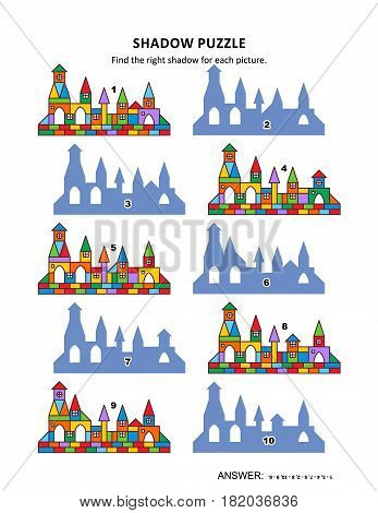 Visual puzzle with toy town buildings: Find the right shadow for each picture. Answer included.