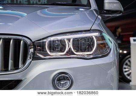 The Closeup Front Glass Headlight Reflector car