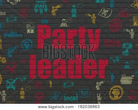Politics concept: Painted red text Party Leader on Black Brick wall background with  Hand Drawn Politics Icons