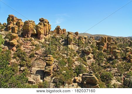 Echo Canyon rock hoodoos formation in Chiricahua National Monument near Wilcox, in southern Arizona, USA.