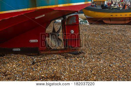 Fishing Boats On The Shore, Stony Beach, Fishing Industry, Screw Boat