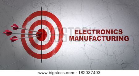 Success Manufacuring concept: arrows hitting the center of target, Red Electronics Manufacturing on wall background, 3D rendering